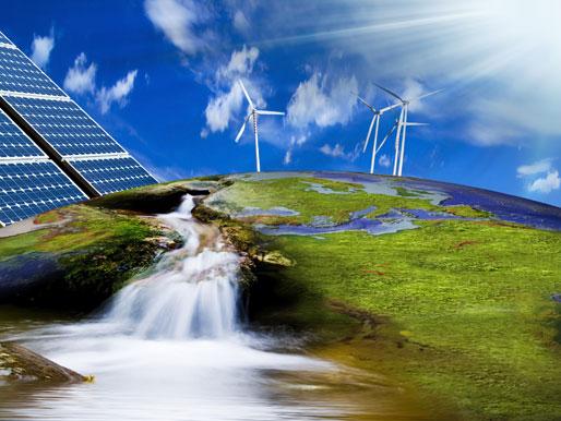 Ökostrom Erzeugung mit Wind, Photovoltaik und Wasserkraft